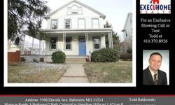 Welcome to 5500 Elsrode Ave, Baltimore MD 21214 This move-in ready 3 bedroom, 2 bath, colonial style home features 1,623 square feet of living space and is situated on just under a 1/4 acre corner lot. Located in the popular neighborhood of Hamilton