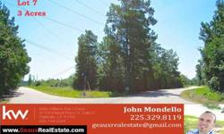 High and dry! Beautiful corner lot of three acres available in lobell acres.